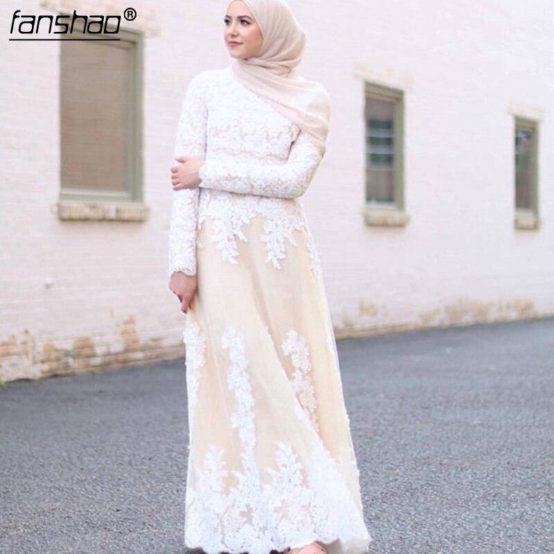 Vestidos de novia musulmanes Kaftan Hajib de manga larga con cuello alto y apliques de encaje blancos en champán Abaya islámica de Dubái