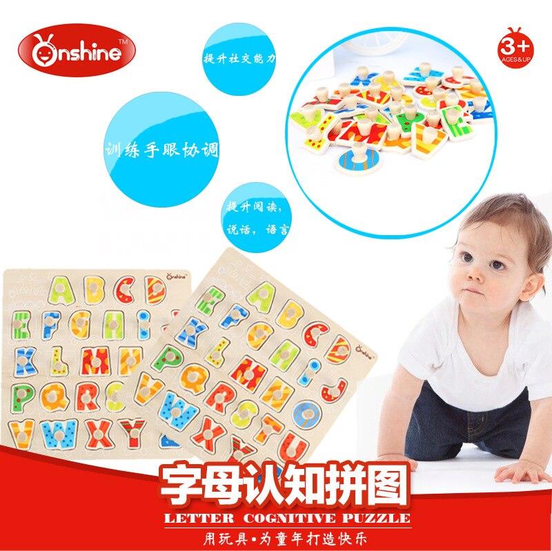 ONSHINE 28*28CM 3D bebé chico de madera 26 letra rompecabezas cognitivo educación temprana mano agarre jigsaw juguetes para niños
