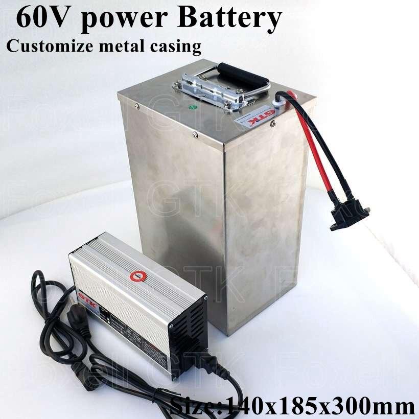 Patinete eléctrico de Metal de 60v, 30Ah, 2000W, batería de litio, 60v, 30Ah, 50A, BMS, 3000w, ATV, EV cart, triciclos de Motor, carrera, junco + cargador