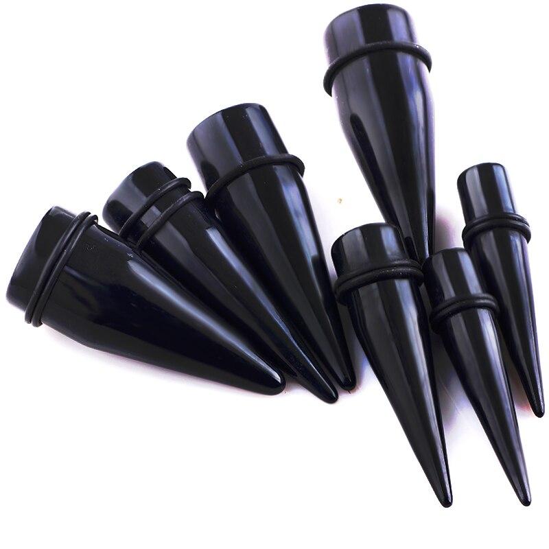 UV Acrylic Black Ear Tapers Stretching Kit Expander Earrings Plug Gauges Ears Piercings 1.6--25 Body Jewelry 00 Gauge 0g Tunnel