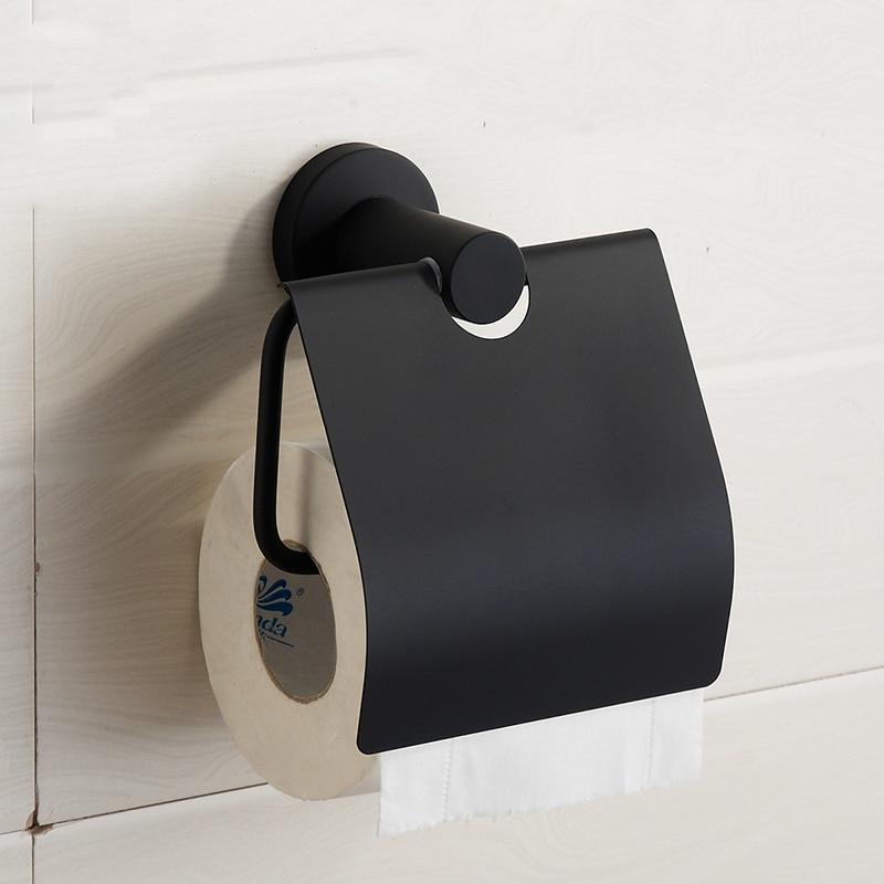 Nuevo diseño moderno 304 cepillo de acero inoxidable soporte de papel higiénico rollo negro de goma soporte caja de papel montaje productos de baño S7