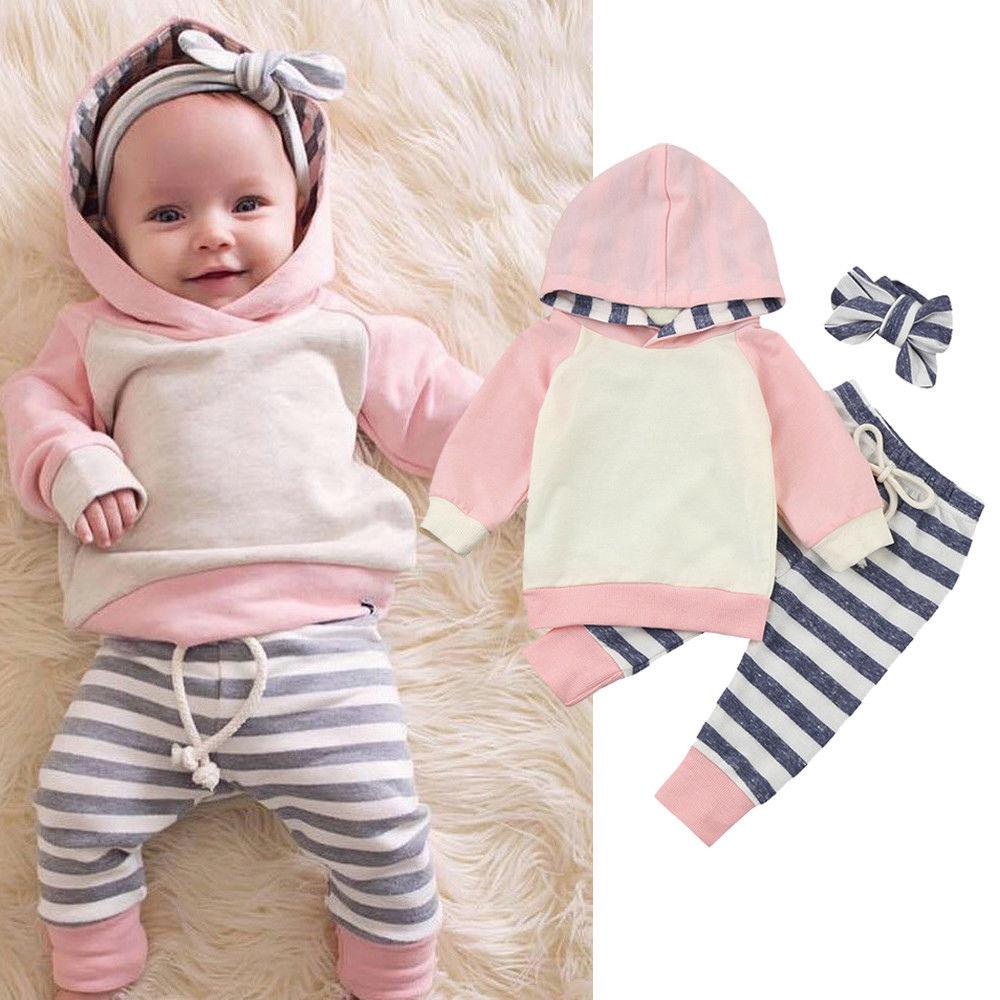 Moda Popular Babys trajes 3 M-24 M niño pequeño bebé niña ropa chándal Sudadera con capucha pantalones trajes