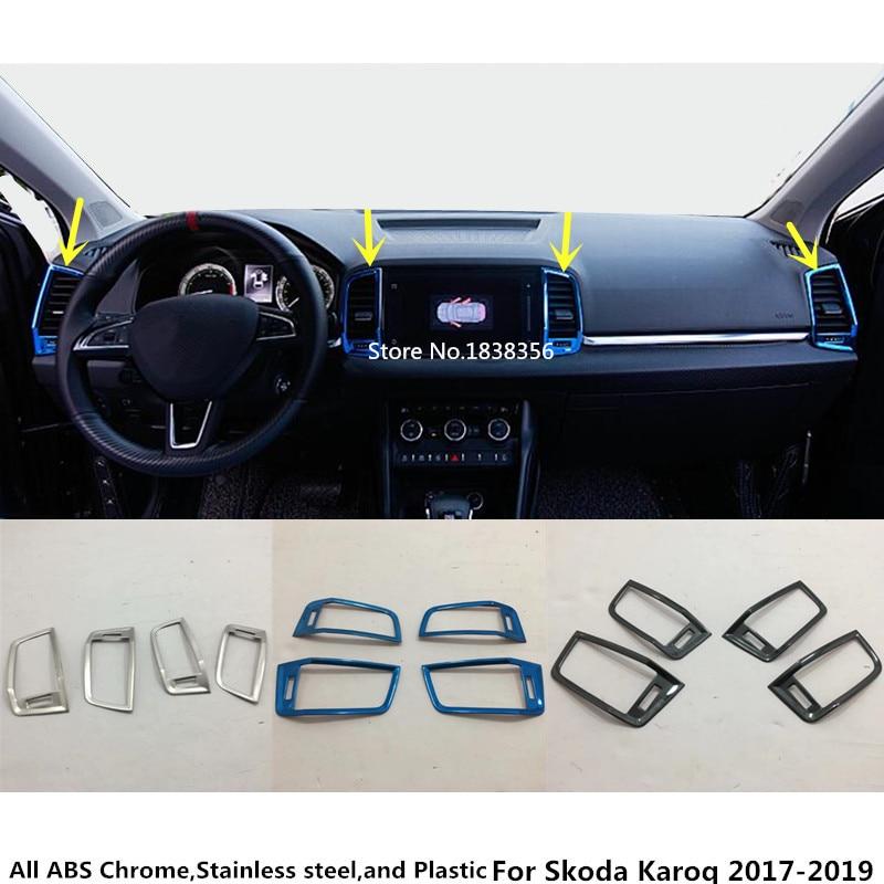 Para Skoda Karoq 2017 2018 2019 2020 interruptor de acero inoxidable para coche salida de ventilación (derecha + izquierda + Medio) Marco de Control de panel de aire acondicionado