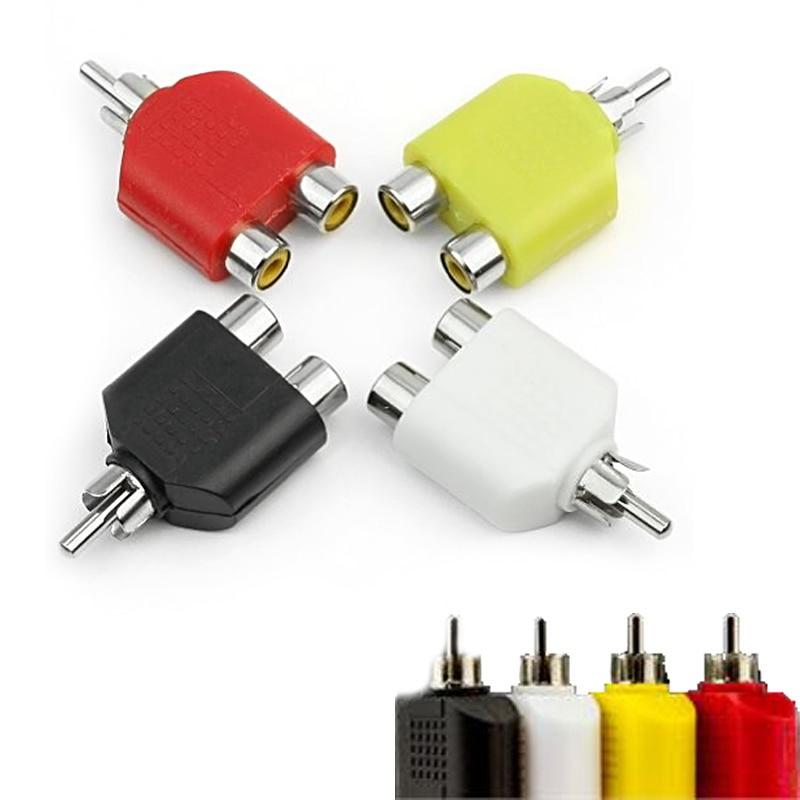 4pcs/lot RCA Y Splitter AV Audio Video Plug Converter 1 Male to 2 Female Adapter Kit Lotus Color AV Jack RCA Plug to Double