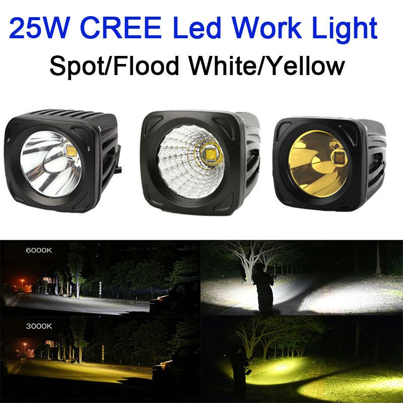25 Вт квадратный светодиодный светильник 12 в 24 В точечный прожектор желтый 3000 К белый для 4x4 внедорожный ATV грузовик Вождение противотуманный...