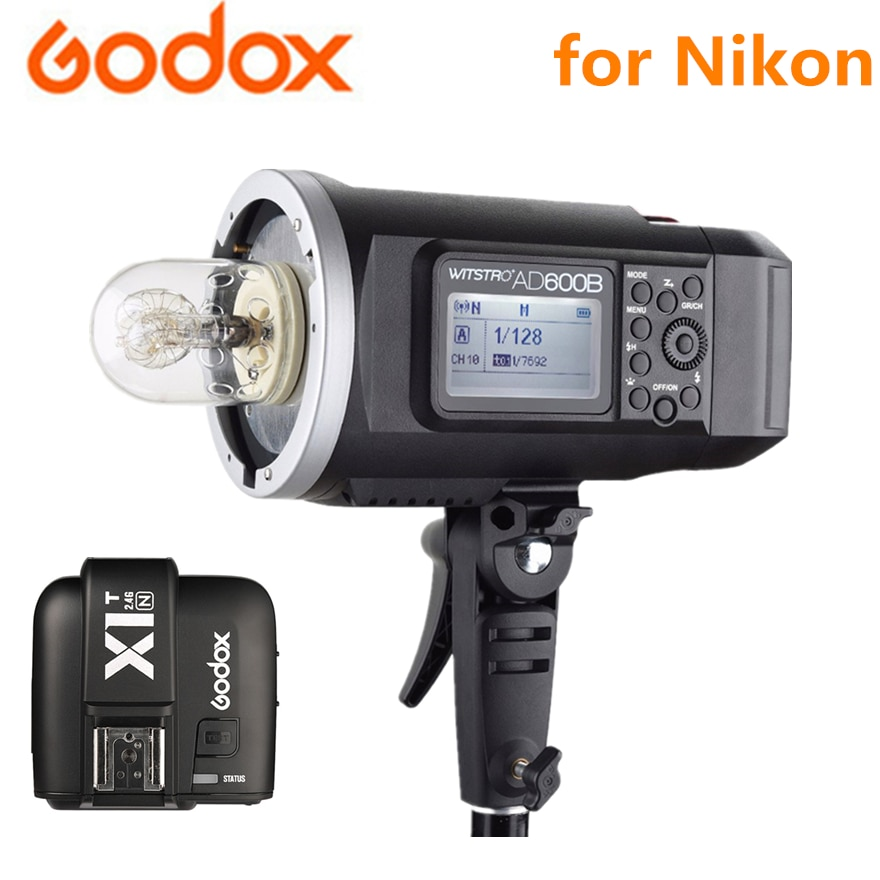 Система Godox AD600B 2,4G X 8700mAh литий-ионная батарея HSS TTL Bowens крепление наружная вспышка + X1T-N передатчик для камеры Nikon