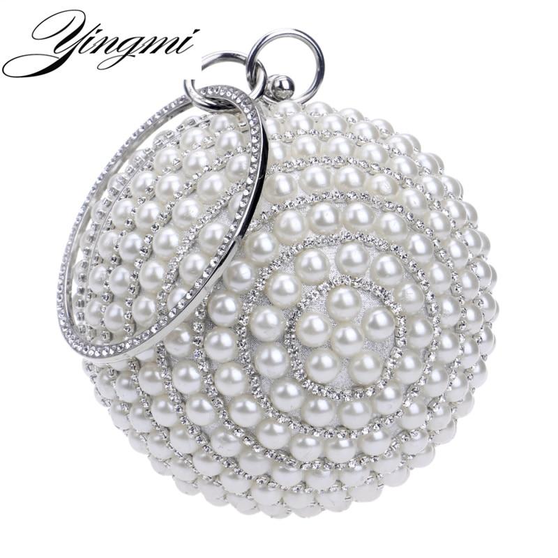 YINGMI forma Circular bolsos de noche para mujeres diamantes Metal rebordear bolso de mano de día pequeña cadena hombro bolsos para fiesta boda