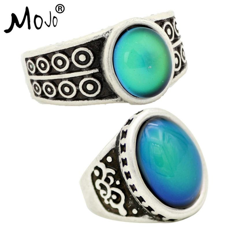 2 uds antiguo Color enchapado en plata cambios de humor anillos cambiando de Color temperatura emoción sentimiento anillos para las mujeres/hombres 007-051