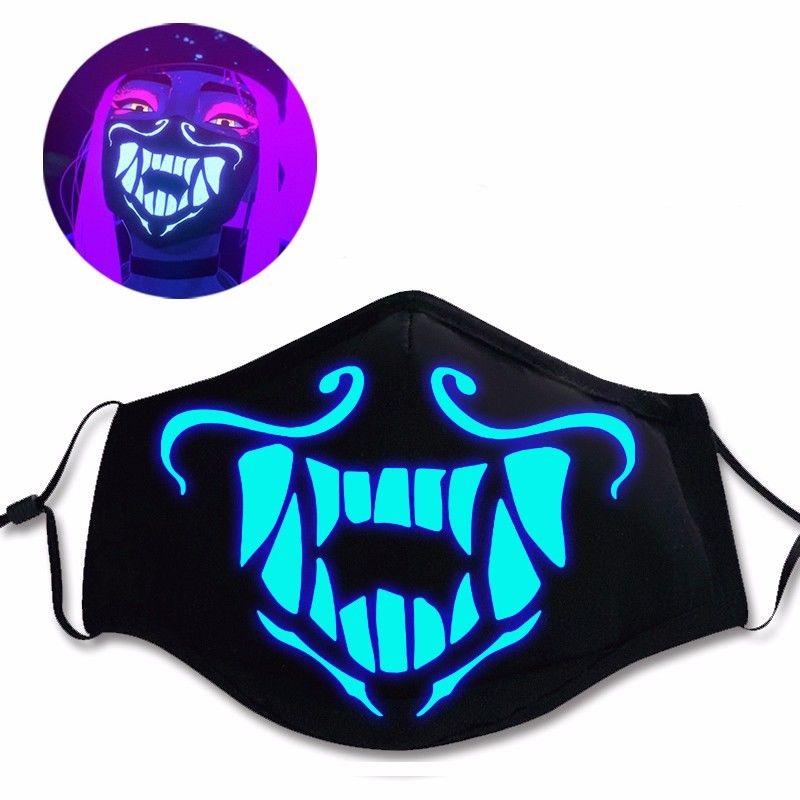 LOL K/DA Kda Akali Cosplay luminous Mouth-muffle Mask Adjustable Zipper Prop Masks Rubber 3D Solid Cool Mask Anime  Drop Ship