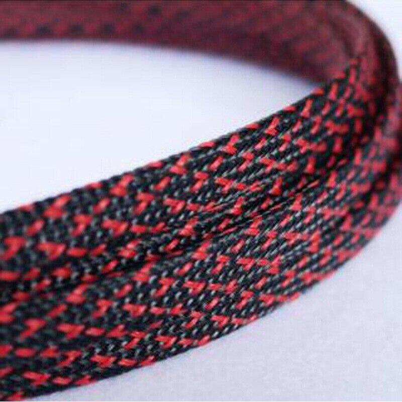 1-30 metros 3-50mm negro y rojo Snakeskin malla de alambre de protección de Nylon apretado PET expandible aislamiento revestimiento trenzado mangas