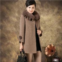 winter women's wool coat middle-age women fur collar cashmere medium-long woolen outerwear plus size 5XL