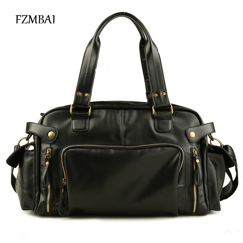 FZMBAI Men's PU Leather Handbag Fashion Satchel Bags for Mens Luggage Travel Bag
