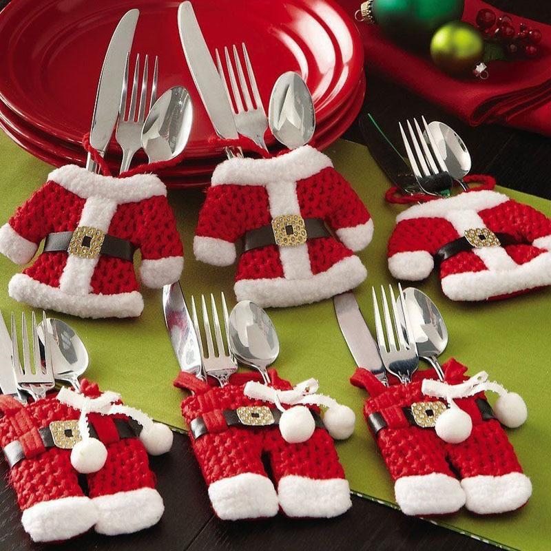 6Pcs New Year Chirstmas Tableware Holder Knife Fork Cutlery Set Skirt Pants 2018 Navidad Natal Christmas Decorations for Home