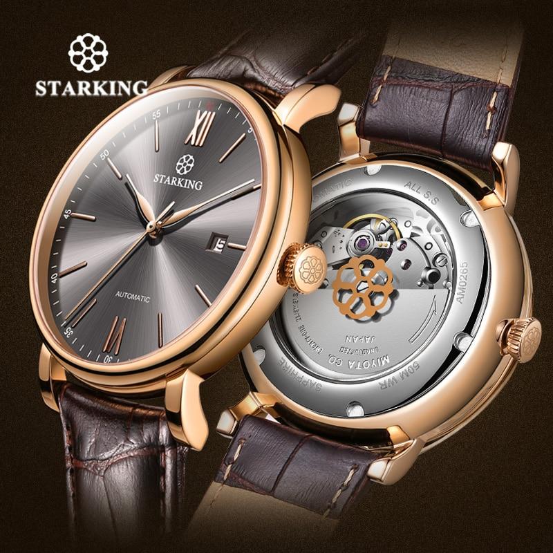 Reloj de negocios minimalista de lujo de marca STARKING, reloj automático japonés Miyota de acero con fecha automática, reloj de pulsera de cuero para hombre