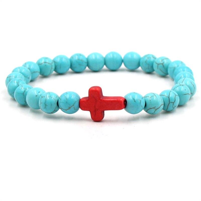 Punk Cruz Roja hombre azul grieta Piedra natural brazalete homme cuentas pulsera de dijes joyería pulsera regalo al por mayor