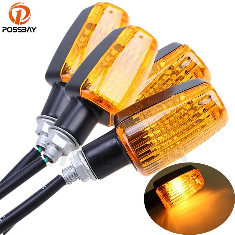 Possbay seta universal para moto, 4 peças, luzes, lâmpada, âmbar, flash de luz, para honda kawasaki suzuki yamaha