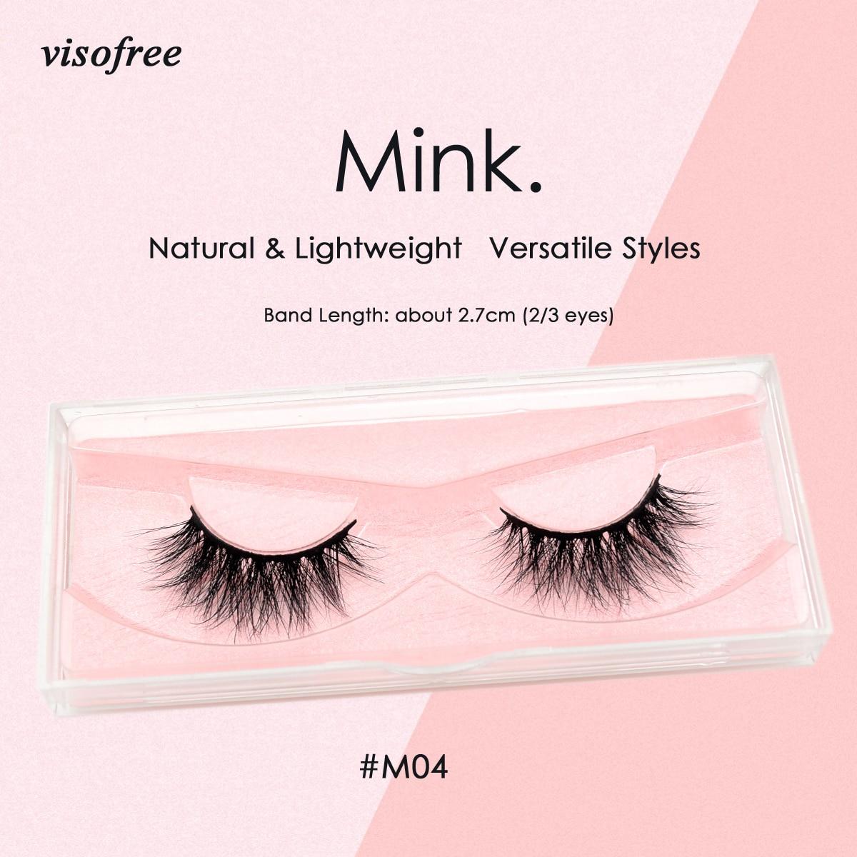 Visofree Lashes 3D Mink Lashes Cruelty free Mink False Eyelashes Thick Long Handmade Mink Eyelashes For Makeup faux cils M04