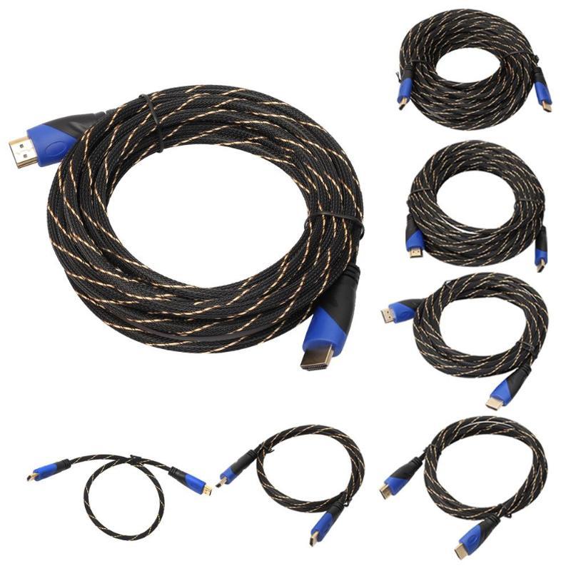 Trenzado HDMI Cable de vídeo Chapado en cables de oro V1.4 AV HD 3D para PS3 Xbox HDTV del divisor del conmutador 1M-15M metros 1080P