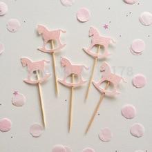 Toppers Cupcake pour cheval à bascule   Paillettes, bon marché, décoration pour fête prénatale mariage fête prénatale thé anniversaire, friandises pics alimentaires