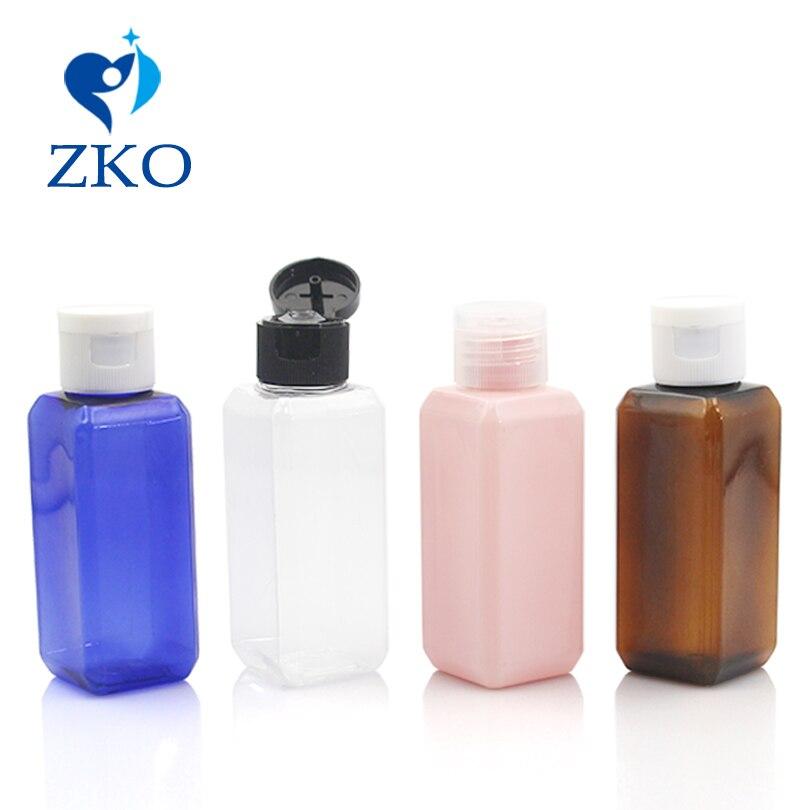 زجاجة بلاستيكية مربعة الشكل بغطاء علوي لمستحضرات التجميل ، 500 قطعة ، 50 مللي