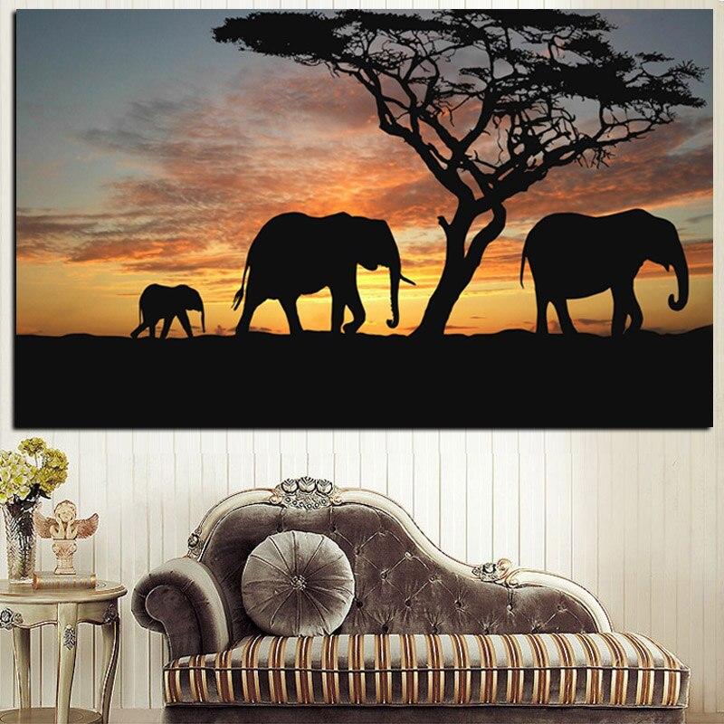 Pintura de paisaje de elefante africano con diseño de paisaje al atardecer en lienzo, imagen artística para pared de animales, ilustración para decoración de sala de estar