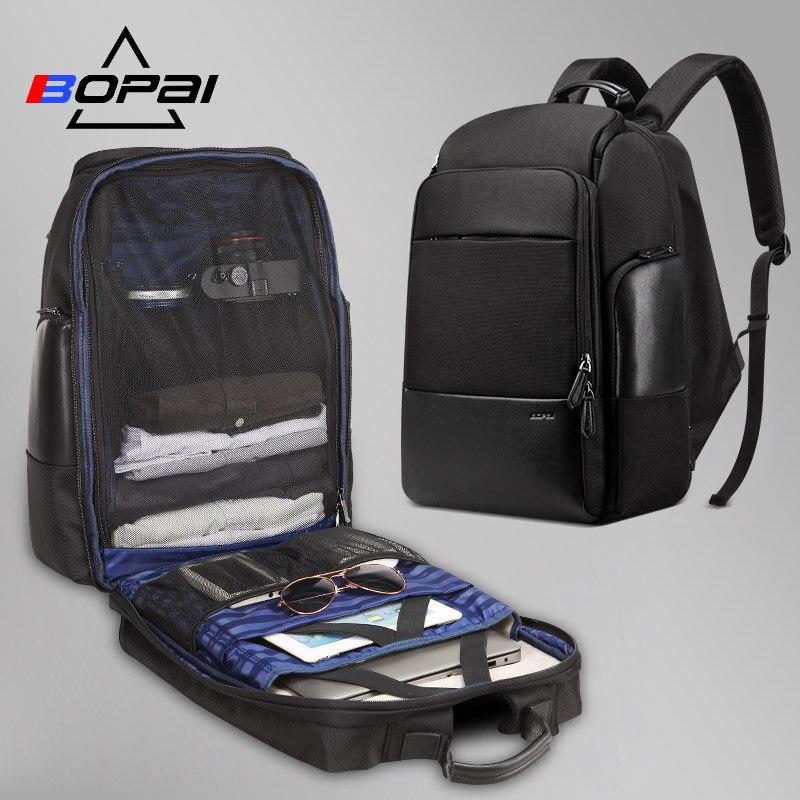 BOPAI, нейлоновый мужской рюкзак, дорожная сумка, водонепроницаемый большой рюкзак для ноутбука 17 дюймов, черный мужской дорожный рюкзак, 40л, ...