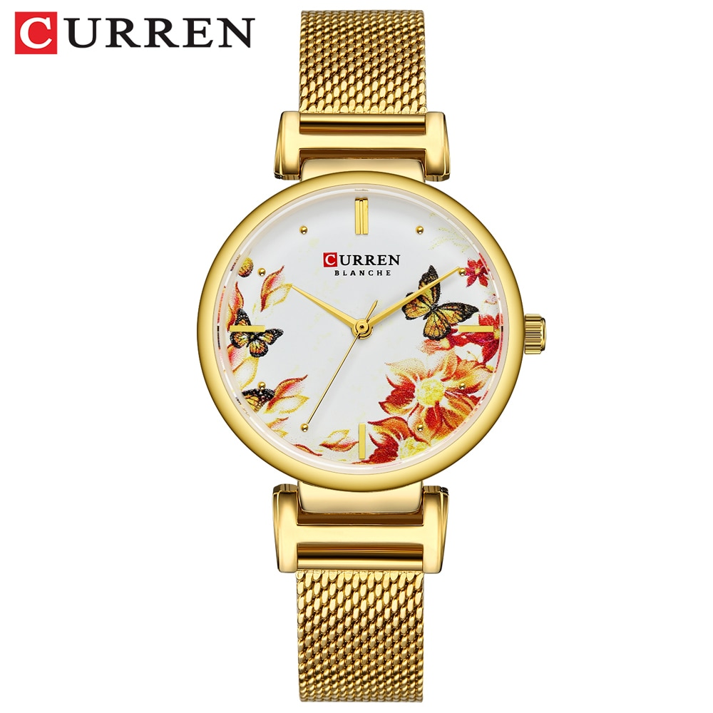 CURREN Brand Women Watches Mesh Steel Band Beautiful Flower Butterfly Design Quartz Wrist Watch For Lady Summer Dress Clock Gift enlarge