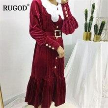 RUGOD Vintage perle perles bouton longue femmes robe 2019 mode volants à manches longues col rabattu maxi fête dames robe