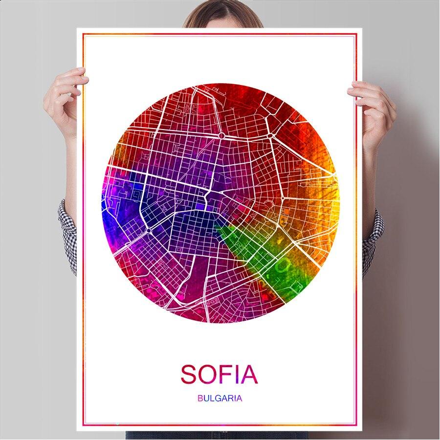Mapa de la ciudad famosa del mundo SOFIA Bulgari imprimir póster en papel o lienzo pared pegatina Bar Café sala de estar hogar decoración