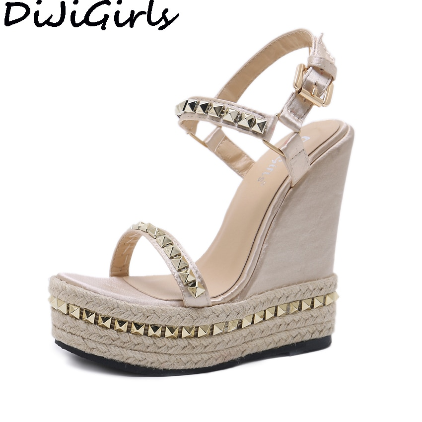 DiJiGirls 2018 Women Ultra Very High Heels Bohemian Gladiator Sandals Straw Rope Hemp Rivets Shoes Wedge Platform Wave Shoes