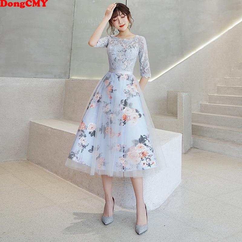 DongCMY nowy kwiat eleganckie sukienki dla druhen krótka, koronkowa szata na imprezę wieczór pół rękawy suknia dla panny młodej