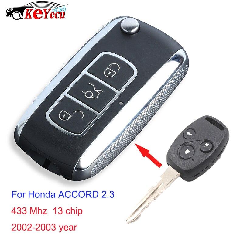 Reemplazo Keyecu actualizado Flip mando a distancia de coche 3 botones 433 MHz ID13 chip para Honda Accord 2002-2003 Año