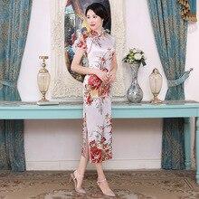 Weiß Chinesischen Frauen Qipao Plus Größe 3XL Vantage Druck Blume Cheongsam Fleck Lange Dünne Kleider Elegante Weibliche Chinesischen Kleid