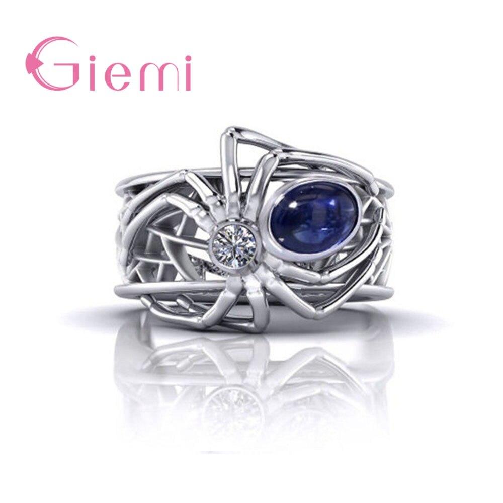 Grande azul cz pedra aranha assinatura anel 925 prata esterlina punk animal anéis para festa jóias dropshipping atacado