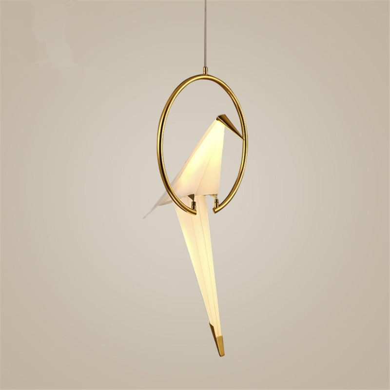 Lámpara colgante de percha nórdica, moderna, creativa, postmoderna, con personalidad, pájaro, dormitorio, cabecera, balcón, restaurante, grúa Simple, lámparas LED
