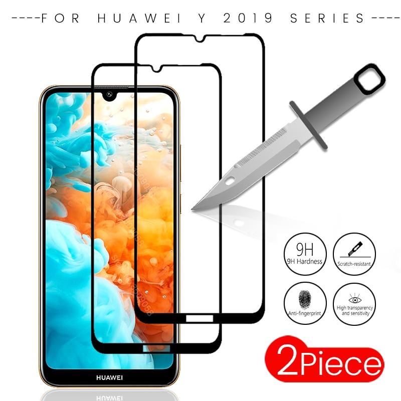 2 teile/paket für huawei y7 2019 gehärtetem glas screen protector für huawei y9 y7 y6 prime pro y5 2019 y 7 6 5 2019 schutzhülle film