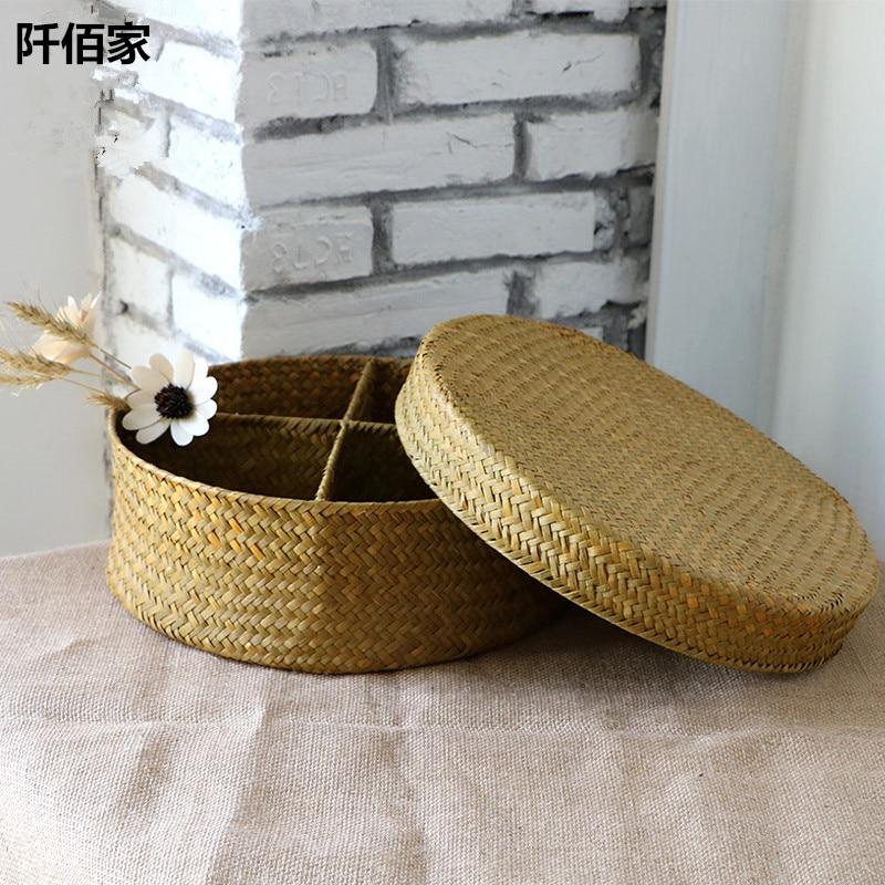 1Pcs Round 4 Grids Sea Grass Pure Handmade Woven Basket Rattan Box Desktop Storage Baskets Cosmetics Sundries Holder Home Decor