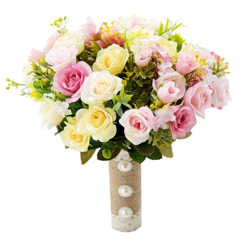 Buquê de casamento Feito À Mão Flores Artificiais Rose Buque Casamento Buquê De Noiva para Casamento Decoração Ramos De Novia