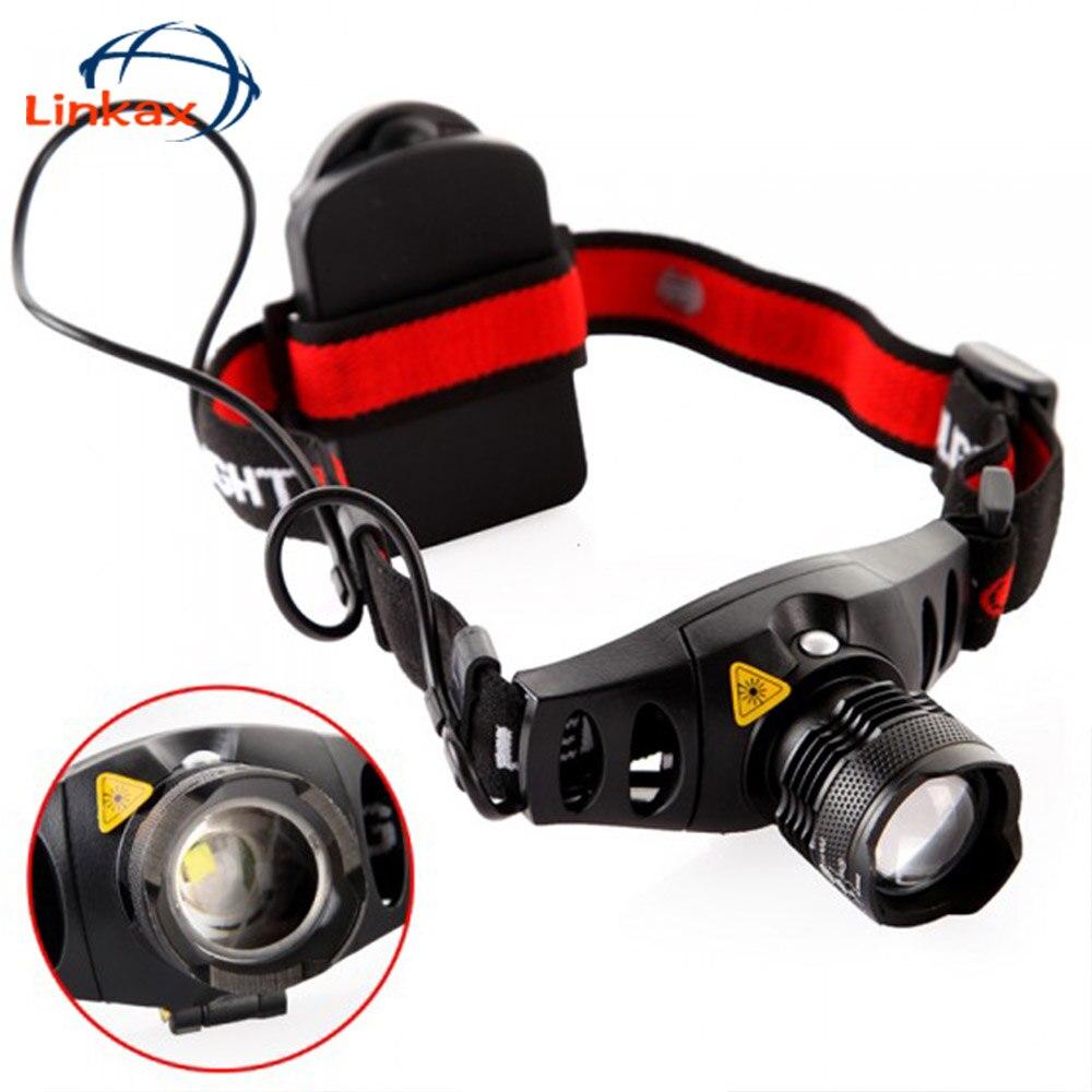 Фонарь, прожектор, красный индикатор, налобный фонарь с держателем батареи, 4 режима, наружная фара