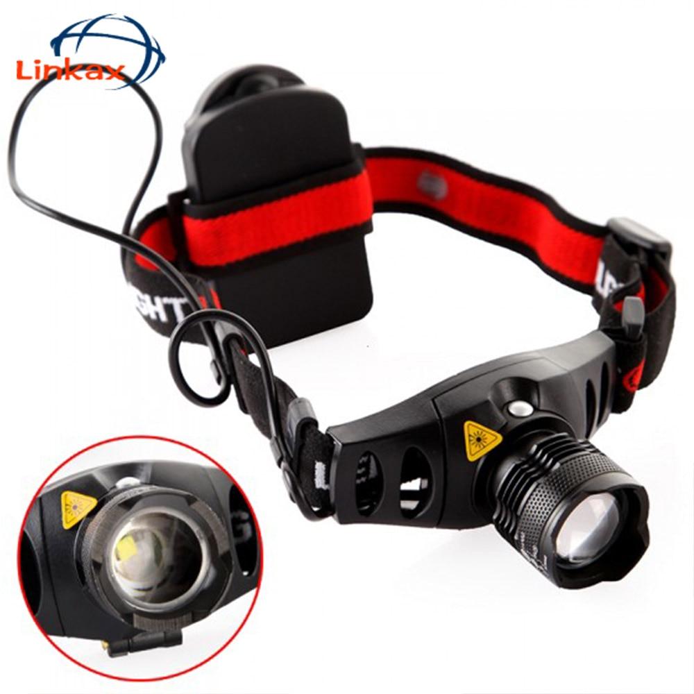 lanterna HeadLight red indicator light Headlamp with Battery Holder 4-mode outdoor head light lamp