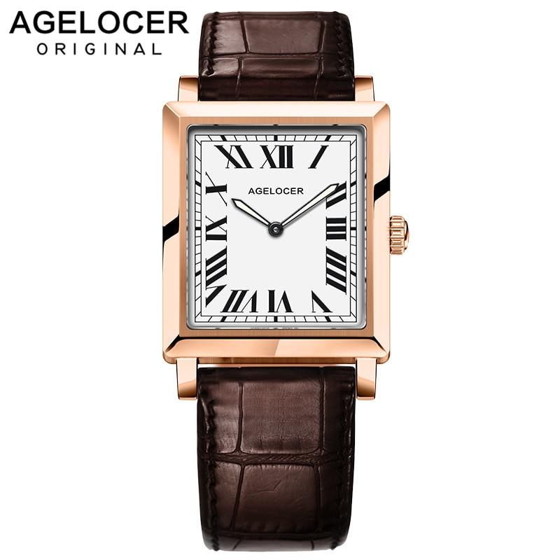 Agelocer-ساعة يد نسائية فاخرة ، ساعة كوارتز ذهبية شهيرة ، ساعة رفيعة للغاية مع صندوق هدايا