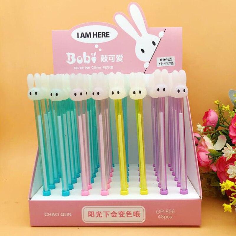 4 unids/set lindo conejo Animal de 0,5mm que cambia de Color Gel bolígrafos negro azul tinta firma pluma escuela Oficina regalo papelería