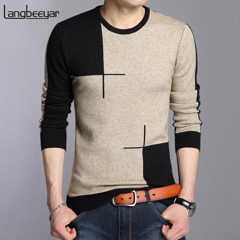 2020 nuevo otoño invierno marca ropa suéter hombres moda transpirable Slim Fit invierno pulóver hombres cuello redondo suéter de punto hombres