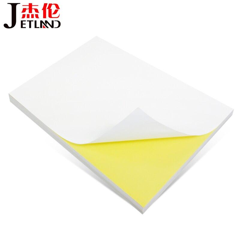A4 etiqueta entera de 100 hojas, Pegatina autoadhesiva brillante/mate para impresora láser/de inyección de tinta, 100 hojas por paquete