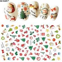 Nu-TATY Nail nail sticker di Natale Babbo natale del chiodo di applique della cinghia di plastica stereo 3D adesivi Strumenti nail sticker