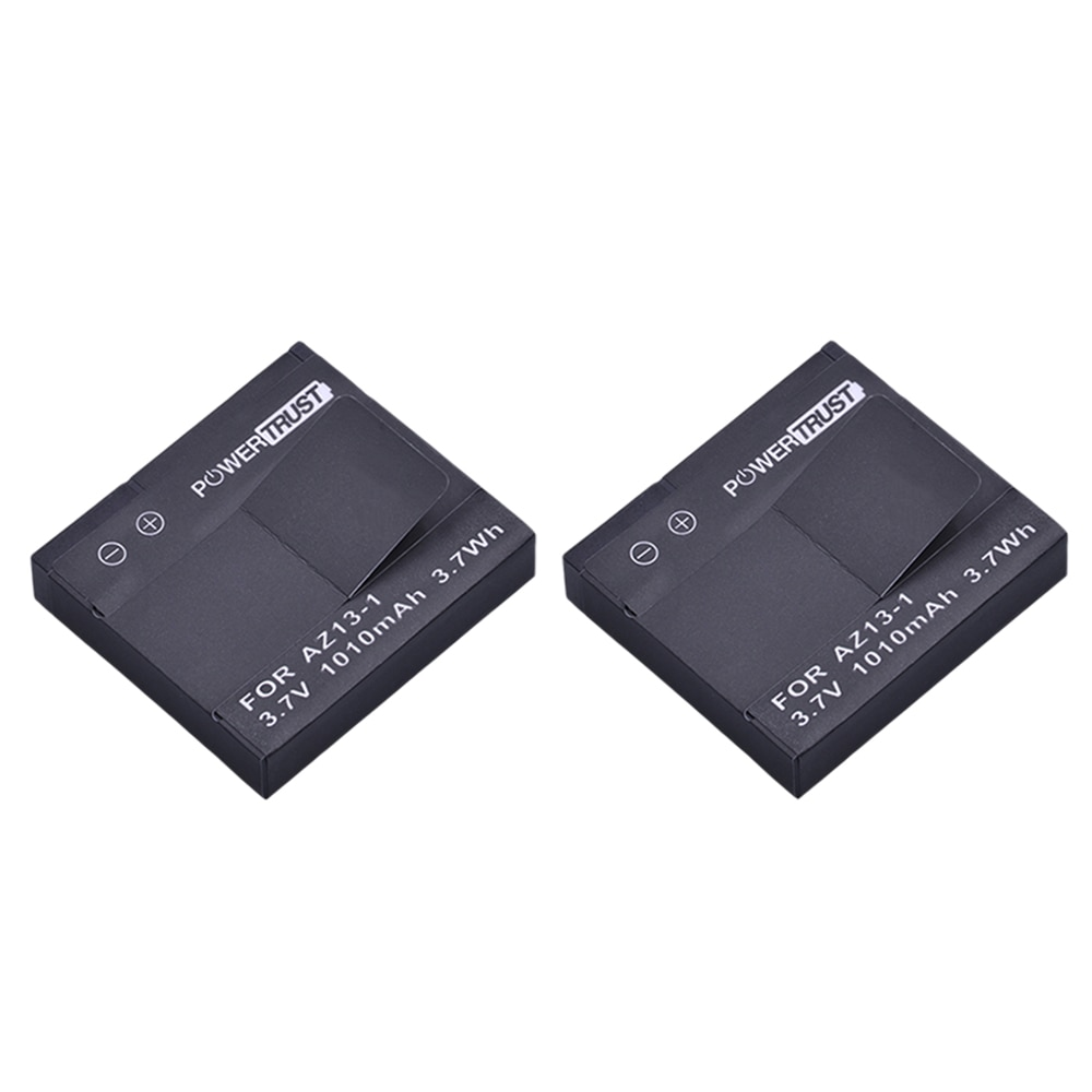 PowerTrust 2Pcs 1010mAh AZ13-1 AZ13 Rechargeable Battery For xiaomi yi 1 Action Camera Xiaomi YI AZ13 1 batteries