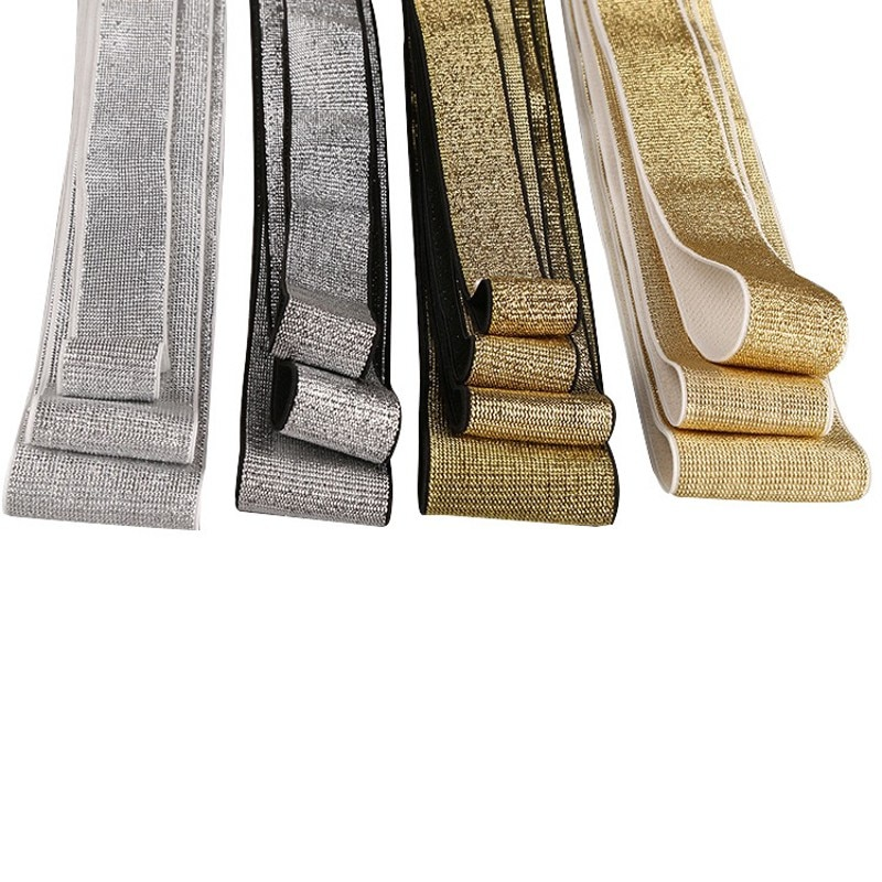 Золотые серебряные блестящие эластичные ленты 10/15/20/25/40 мм канатная Резиновая лента линия ленты швейная кружевная отделка пояс аксессуар для одежды 1 м