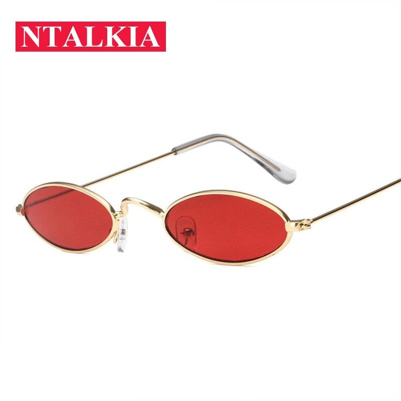 Vintage Small Oval Sunglasses Women Fashion Brand Designer Shades Sun Glasses Men Metal Round Eyewea