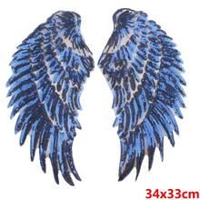 Prajna Blau Engel Flügel Pailletten Patches Für Kleidung 3D Feder Patch Motiv Applikationen Frau Jacke Ornamente DIY Aufkleber F