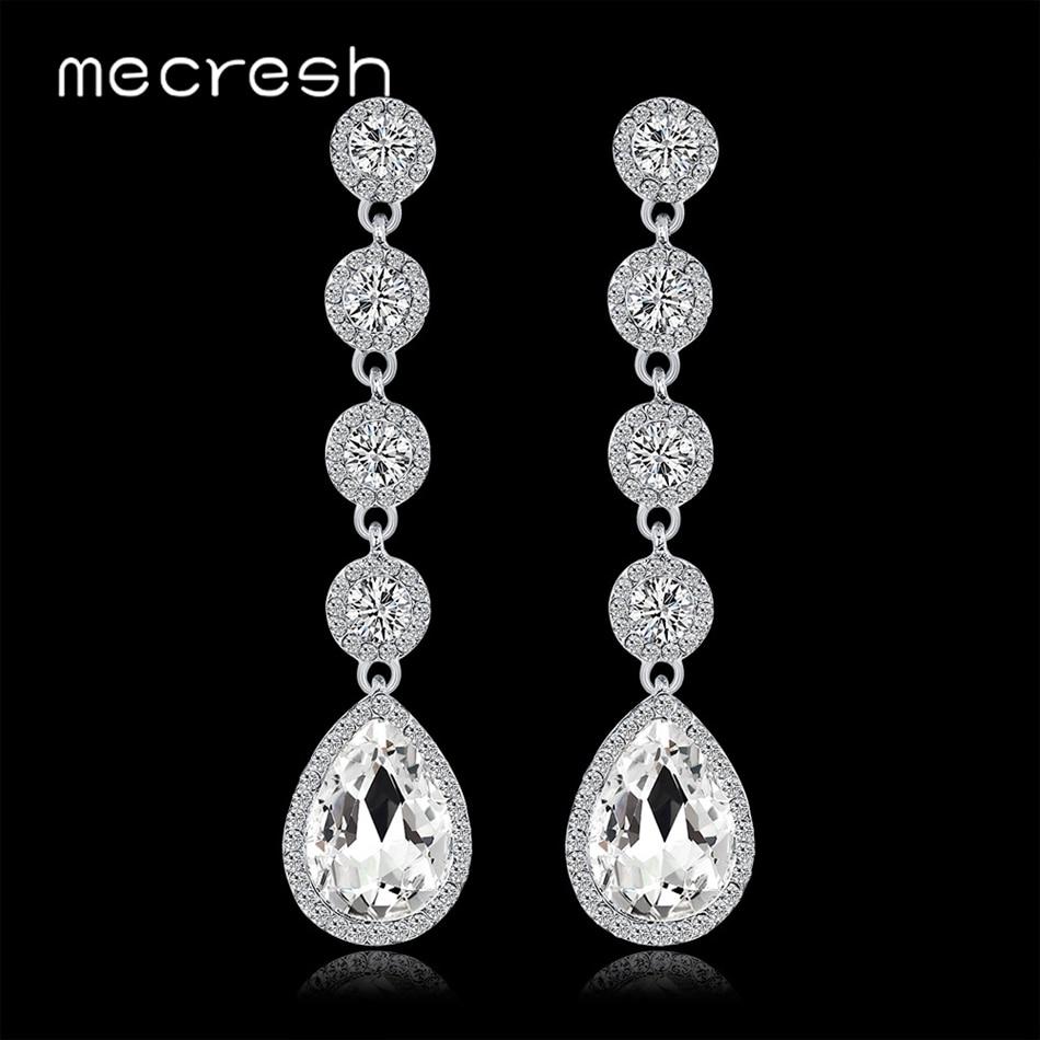 Mecresh simples lágrima cristal longo balançar brincos casamento noivado jóias minimalista nupcial brincos para mulher eh1512